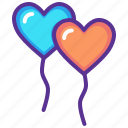 balloon, celebrate, heart, love, romance, valentines, wedding icon