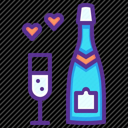 celebrate, champagne, date, heart, love, valentines, wedding icon