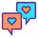bubble, chat, love, message, romance, talk, valentines icon