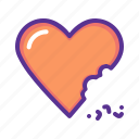 bite, cake, celebrate, chocolate, heart, love, valentines icon