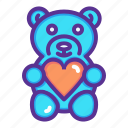 day, gift, heart, love, romance, teddy bear, valentines icon