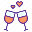 date, love, romance, toast, valentines, wedding, wine icon