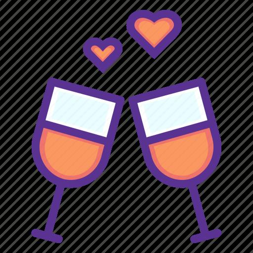 date, love, romance, toast, valentines, wedding, wine icon