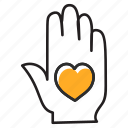 hand gesture, heart hand, heart on hand, love hand, palm icon