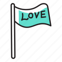 banner, emblem, flag, flag of love, love flag icon