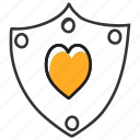 heart shield, love shield, protective shield, secure shield, security shield icon