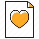 favourite document, favourite file, favourite paper, heart on page, love letter icon