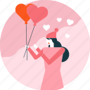 balloon, heart, love, valentine, woman icon