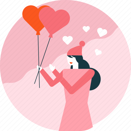 Balloon, heart, love, valentine, woman icon - Download on Iconfinder