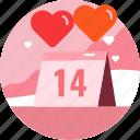 calendar, date, heart, love, valentine