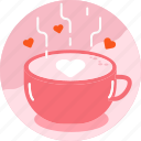 coffee, drink, heart, hot, latte art, love, valentine icon