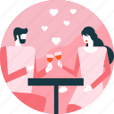 couple, date, heart, love, romantic, valentine, wine