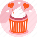 cake, cup, dessert, heart, love, sweet, valentine icon