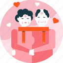 couple, love, man, old, senior, valentine, woman icon