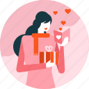 card, day, gift, heart, love, valentine, woman
