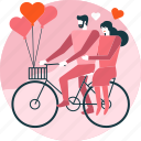 balloon, bicycle, couple, cycling, heart, love, valentine icon