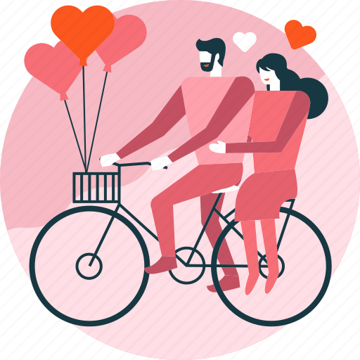 Balloon, bicycle, couple, cycling, heart, love, valentine icon - Download on Iconfinder