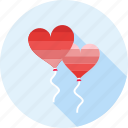 balloon, balloons, heart, love, romance, romantic, valentine icon