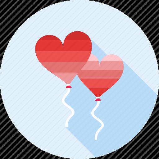 balloon, balloons, heart, love, romance, romantic, valentine icon