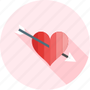 arrow, heart, love, romance, romantic, valentine, with icon
