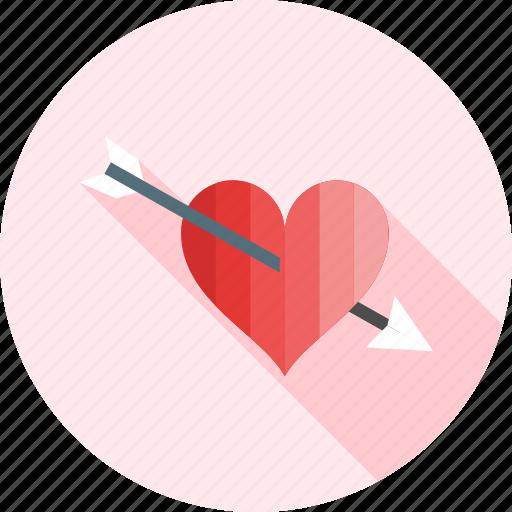 arrow, heart, love, romance, romantic, valentine, with icon