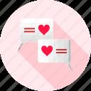 chat, love, bubble, conversation, heart, love chat, romantic
