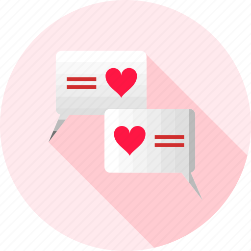 bubble, chat, conversation, heart, love, love chat, romantic icon
