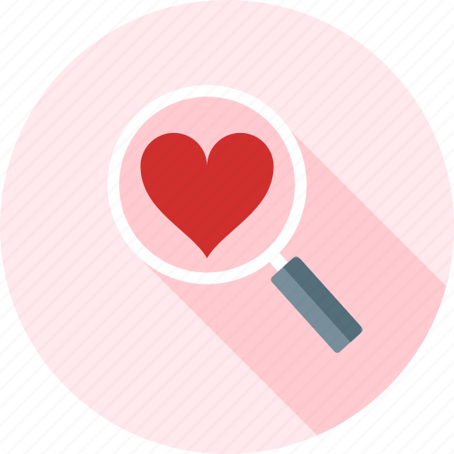 glass, heart, love, magnifier, search, valentine, zoom icon