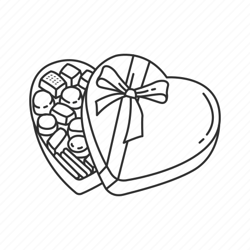 chocolate, chocolate box, gift, heart, heart candy, love, valentines icon