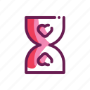 hourglass, love, romance, valentine icon