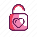 lock, love, romance, valentine icon