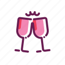 beverage, drink, toast, valentine icon