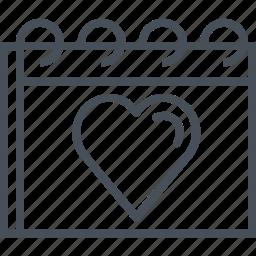 calendar, february, hearth, love, valentines day icon