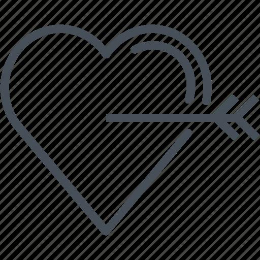 arrow, eros, hearth, love, valentines day icon