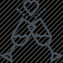 hearth, love, valentines day, wine icon