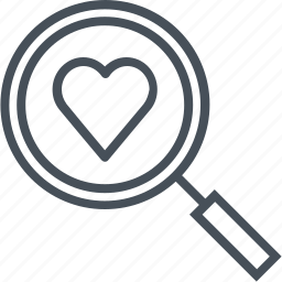 discover, find, hearth, love, magnifier, valentines day icon