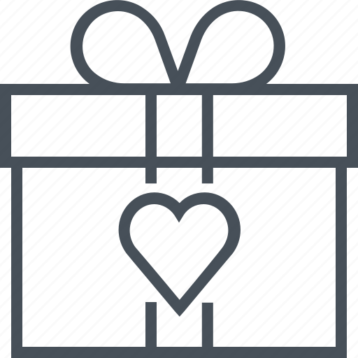 box, gift, harth, love, prezent, valentines day icon