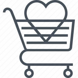 add to chart, hearth, love, shopping cart, valentines day icon