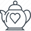 hearth, love, tea, tea pot, valentines day icon