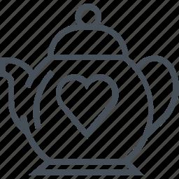 hearth, love, tea, tea pot, valentines day icon