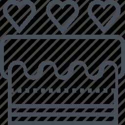 cake, celebration, heart, love, valentines day icon