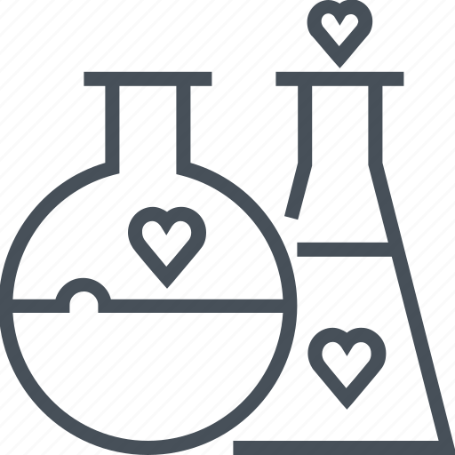 develop, experiment, love, science, valentines day icon