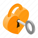 celebration, day, heart, isometric, key, secure, unlock icon