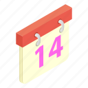 calendar, desk, heart, isometric, tanding, valentine, week icon
