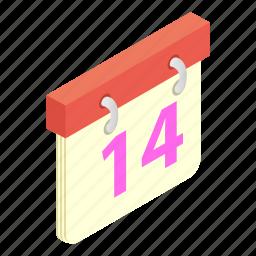 calendar, desk, heart, isometric, tanding, valentine, week icon