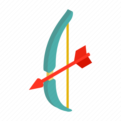 aiming, arch, arrow, bow, isometric, shot, valentine icon