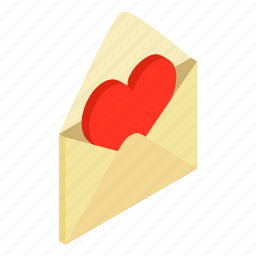 decoration, envelope, greeting, heart, isometric, love, message icon