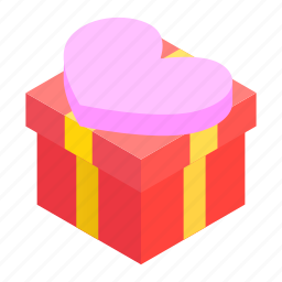 bow, box, celebrate, celebration, cute, heart, isometric icon
