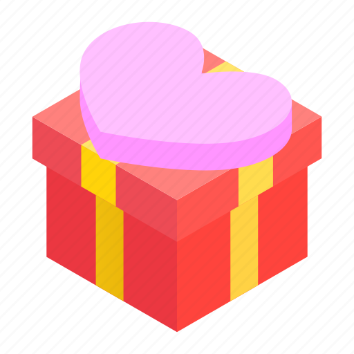 bow, box, celebrate, celebration, cute, heart, isometric icon