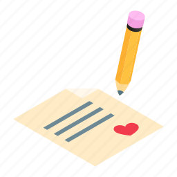 heart, isometric, love, paper, pen, pencil, writing icon